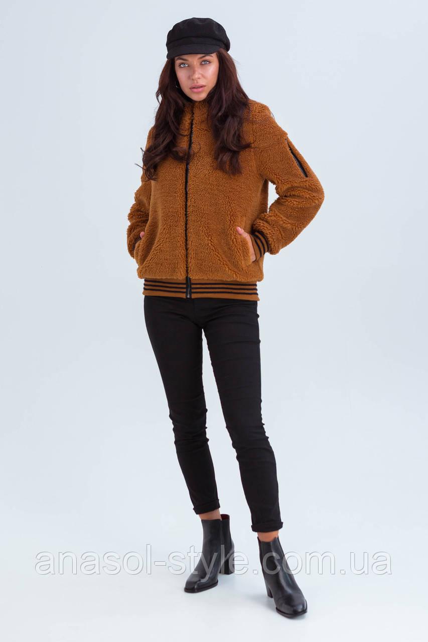 Модный бомбер Джойзи демисезонный из альпака коричневый