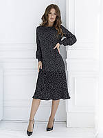Черное прямое платье в горошек с плиссировкой S