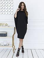 Черное асимметричное платье кроя летучая мышь L, фото 1