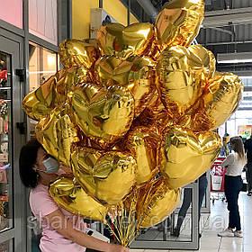 Связка из 30 фольгированных сердец в золотом цвете