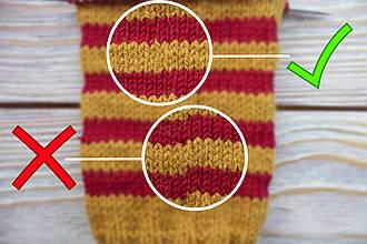 Цветное вязание по кругу спицами без ступенек
