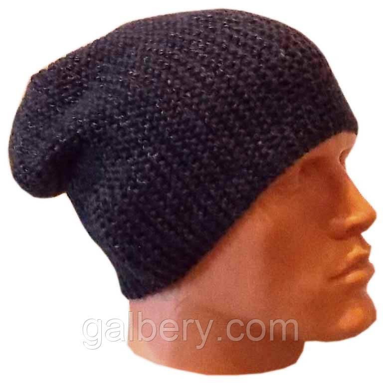 Мужская вязаная шапка - носок объемной ручной вязки