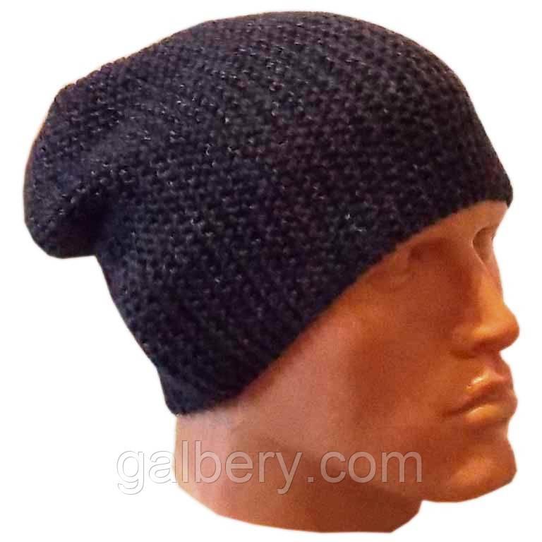 Мужская вязаная шапка-носок объемной ручной вязки