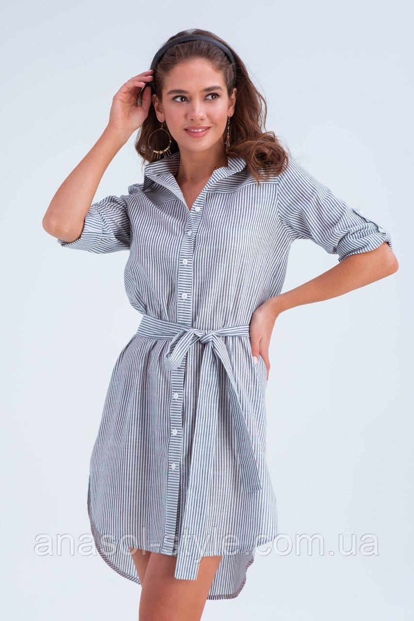 Платье-рубашка Савана серый мел.полоска