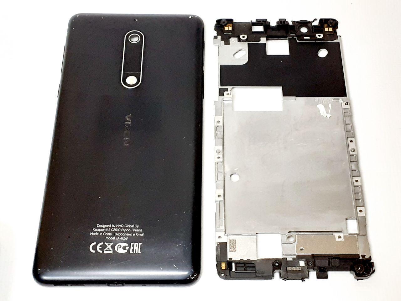 Задня кришка , середня частина корпуса ,бічні кнопки на шлейфі , вібромотор Nokia 5 Dual Sim ТА-1053, чорна,