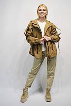 Куртка Парка New Color 9802 Camel с затяжкой по талии