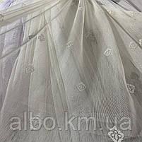 Гарний кремовий тюль з льону з вишивкою на метраж, висота 3 м (BOR552KR), фото 3