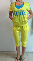 Летний спортивный костюм тройка Адидас желто-голубой (2015) код 904А