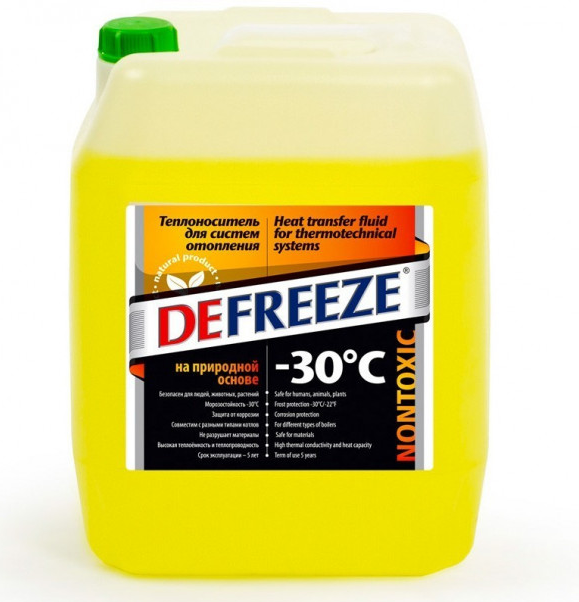 Теплоноситель для отопления на природной основе Бишофит, DEFREEZE -30, 10л