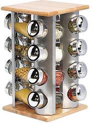 Набор для специй на вращающейся подставке Stenson MS-3505, 16 стеклянных емкостей