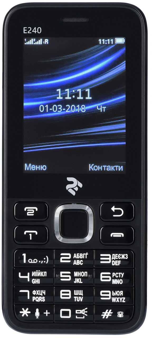 "Мобильный телефон 2E E240 Dual Sim Black (708744071132); 2.4"" (320х240) TN / кнопочный моноблок / ОЗУ 32 МБ / 32 МБ встроенной + microSD до 16 ГБ /"