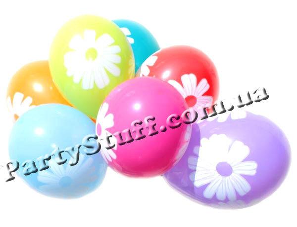 """шарики разноцветные с ромашками 12"""""""