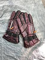 Перчатки мужские плащевые бордовые зимние