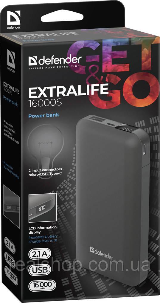 Внешний аккумулятор  Defender ExtraLife 16000S 16000mAh LCD, USB, 2.1A (83666) Power Bank УМБ