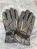 Перчатки мужские плащевые серые зимние