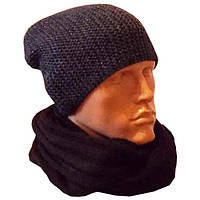 Мужская вязаная шапка - носок объемной вязки и шарф-снуд