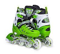Ролики раздвижные детские Scale Sports с PU колесами. Ярко Салатовые. Размеры 29-33, 34-37, 38-42, фото 1