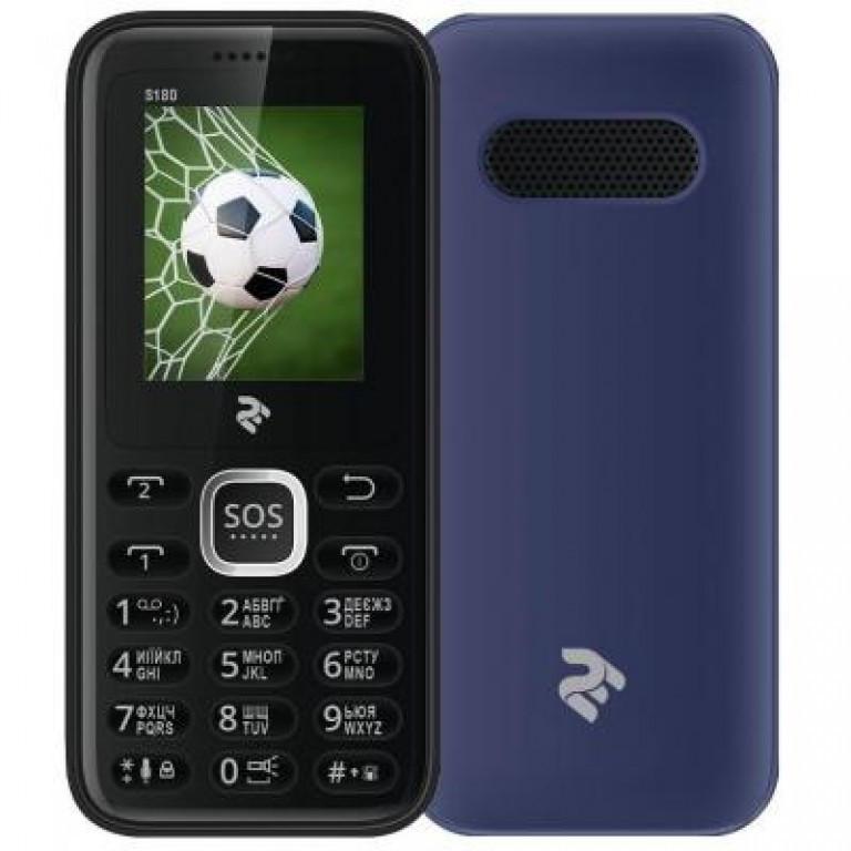 """Кнопочный телефон с кнопкой SOS и хорошим ярким фонариком на 2 сим карты 2E S180 Blue 1.8"""""""
