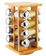 Набор баночек для специй на деревянной вращающейся подставке Stenson Classic MS-0376, 16 стеклянных емкостей