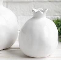 Ваза керамическая Гранат  12,5 см белая, фото 1