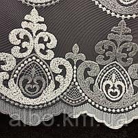 Оригинальный кремовый тюль из фатина с вышивкой серого и кремового цвета на метраж, высота 3 м, фото 3