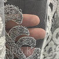 Оригинальный кремовый тюль из фатина с вышивкой серого и кремового цвета на метраж, высота 3 м, фото 4