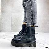 Женские ботинки ДЕМИ черные на шнуровке эко кожа, фото 5
