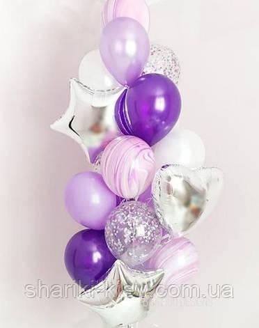 Связка шаров для девушки с сердцами, звездами и агатами в фиолетовом цвете, фото 2