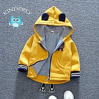 Детская утеплённая кофта на молнии, с капюшоном Мишка ,цвет жёлтый(рост 92), фото 1