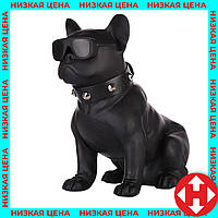 Портативная блютуз колонка в виде собаки (бульдога) черная, беспроводная переносная акустика к телефону, фото 1