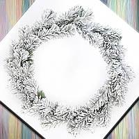 """Венок еловый новогодний на дверь """"Сказка"""" заснеженный d-30 см без украшений, заготовка рождественска"""