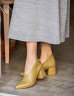 Дизайнерские туфли перчатки из натуральной кожи,горчица 36-41, фото 1