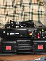Портативная газовая плита-обогреватель Happy Home с керамической горелкой  с переходником