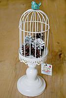Декоративная клетка с птицей-подсвечник