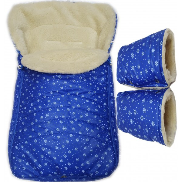 "Акция! Комплект: конверт и рукавицы ""Фо кидс синий снежинки"""