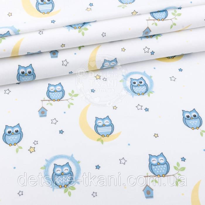 """Фланель детская """"Голубые совушки на луне"""" фон - белый, ширина 240 см"""