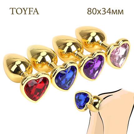 Анальная пробка средняя золотая с камнем сердечком  в форме сердца TOYFA Metal M, фото 2