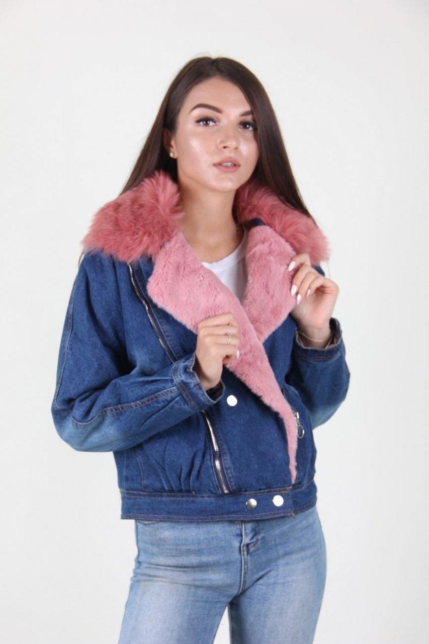 Теплая джинсовая женская куртка
