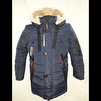 Зимняя куртка для подростка Утепление двойным синтепоном Подкладка из меха М16п