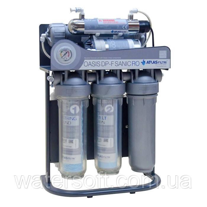 Фільтр зворотного осмосу Atlas Filtri Oasis DP-F Sanic PUMP-UV (мінералізатор, насос і уф-лампа) на каркасі