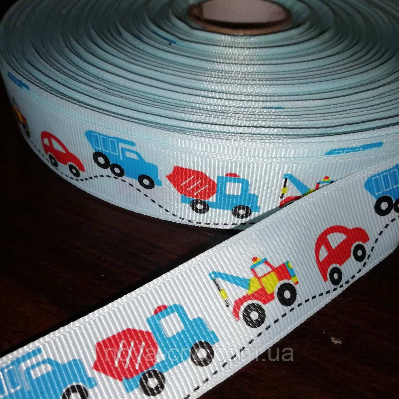 Репсова стрічка Машинки асорті блідо-блакитна 25 мм +/-100 ярдів