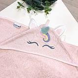 Полотенце-уголок Единорог розовый, фото 2
