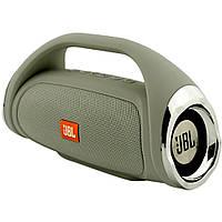 Портативная Bluetooth колонка JBL Boombox mini СЕРАЯ + ПОДАРОК:Нескользящий коврик для телефона. Размер 11*9