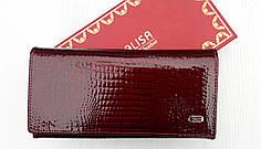 Кошелек кожаный женский бордовый лаковый монетница на молнии Balisa B515-4 на кнопке