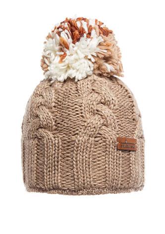 Подростковая бежевая вязанная шапочка с бумбоном Starling., фото 2