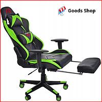 Кресло геймерское Jumi Aragon c подставкой для ног игровое компьютерное офисное раскладное мягкое зеленое