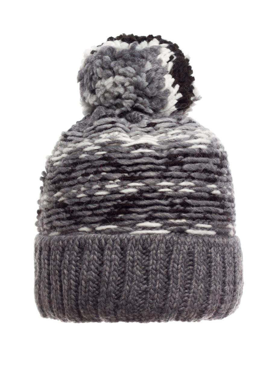 Подростковая и женская удобная серая вязанная шапочка с бумбоном, Польша.