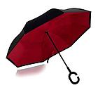 Зонт Навпаки Up-brella - Парасольку Зворотного Складання   Бордовий, фото 3