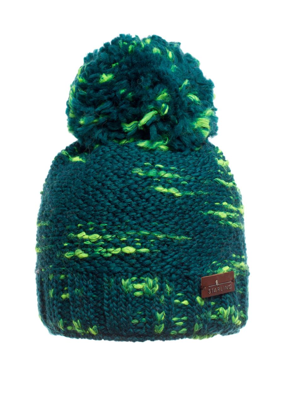 Подростковая вязанная шапочка с бумбоном ярко-зеленая Starling Польша.