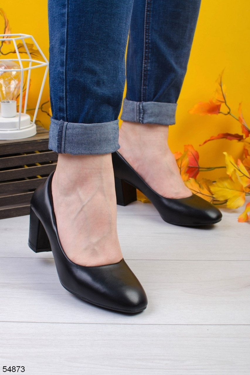 Туфлі жіночі чорні еко шкіра на підборах 6 см